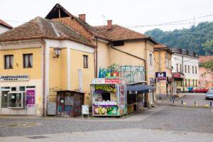 a kiosk in the city center of Tuzla