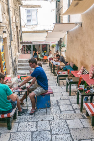 Old town of Split with hundreds of cafes